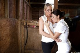 Hot lesbians Ava Dalush and Victoria Summers meets a guy at the farm