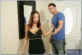 Latin wife Mulani Rivera teasing big cock with her breasts and pussy