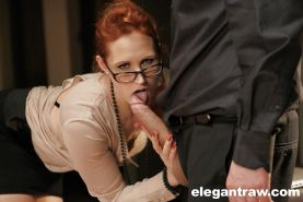 Glasses attired Euro pornstar Emy Russo taking hardcore fucking in office