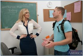 Slutty mature teacher Julia Ann sucks and fucks a student's cock