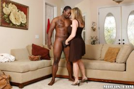 Pussy lick and blowjob during interracial milf fucking with Sara Jay