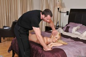 Busty MILF Tasha Reign gets her shaved pink hole drilled by a masseur