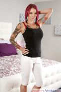 Tattooed alt girl Anna Bell Peaks posing non nude in yoga pants