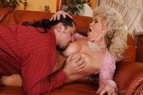 Lusty granny with big round jugs gets her pussy licked and slammed