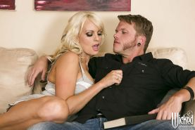 Bosomy MILF Stormy Daniels gives head and gets slammed hardcore
