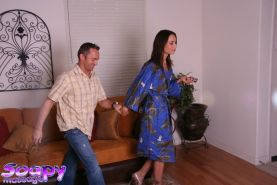 Wet and sexy brunette Amber Rayne is very good at sensitive handjob