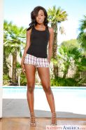 Leggy black female Jezabel Vessir loosing nice azz from shorts by pool