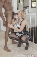 Nylon clad blonde maid AJ Applegate giving huge black cock interracial bj