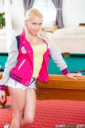 Young blonde hottie Marsha May posing non nude in denim shorts