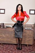 Hot MILF Jaylene Rio in glasses with big tits strips in the office
