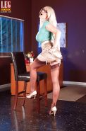 Babe in nylon stockings Charlee Chase plays a wicked foot fetish solo