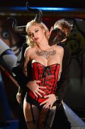 Horned cosplay model Kleio Valentien getting face fucked by long cock