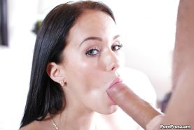 Teen hottie Megan Rain taking pink tongue to large penis for cum swallowing