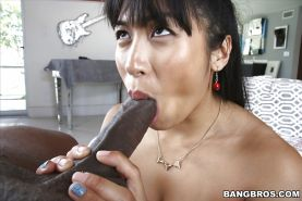 Filthy Asian whore Mia Li goes ass to mouth with big black dick