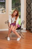Perky redhead with tiny tits and sexy soles stripping and teasing herself