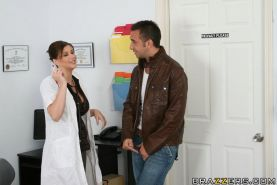 Busty babe in doctor's uniform Sara Stone is fucking a massive cock