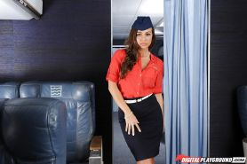 Busty solo girl Abigail Mac stripping out of stewardess uniform