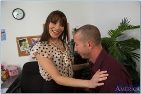 Horny brunette in stockings Dana DeArmond gets fucked hardcore in the office