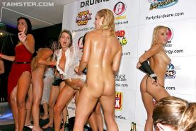 Lecherous MILFs enjoy a wild sex orgy at the wet party in the night club