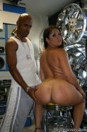 Hot latina babe with bubble butt sucking on a giant black dick