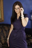 Brunette slut India Summer is taking off her blue dress