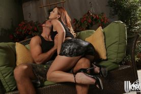 Milf pornstar Karlie Montana is kissing his dick and riding so loud