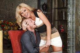Busty blonde Sasha Sean was drilled hard in her wide-opened mouth