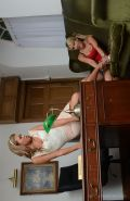 Lesbian babes Candice Collyer and Natalia Forrest undress their panties