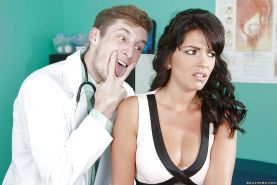 European brunette Ava Dalush gets her pussy checked by her doctor