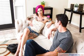 Tattooed MILF Anna Bell Peaks taking jizz on face after giving blowjob