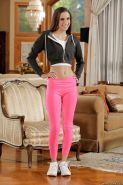 Masturbating babe with a fit body Belle Knox is doing it in her yoga pants
