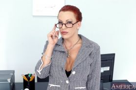 Hot office babe in glasses Shannon Kelly strips off see-thru lingerie