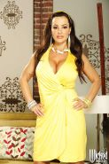 Full-figured pornstar Lisa Ann slipping off her dress and lingerie