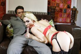 Blonde beauty Victoria Summers giving BJ before riding cock in stockings