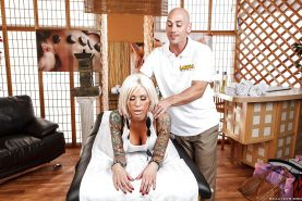Busty tattooed vixen Lolly Ink enjoys a hardcore fucking with a masseur