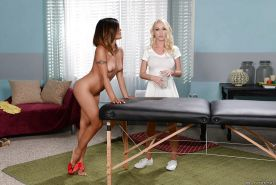 Lesbian sex features Ebony Asian Kaylani Lei and her sexy masseuse