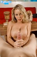 Busty MILF wife Amber Lynn Bach tit fucking long cock from POV perspective