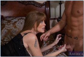 Hot big busted MILF Darla Crane sucks and fucks a young cock