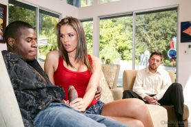 Skinny brunette lass Tori Black gets her twat plugged with a BBC