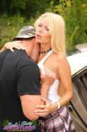 MILF lady Barbi Sinclair went with her lover outdoors in car for some hardcore sex action.