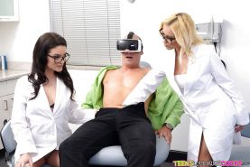 Nerdy dental assistants Marsha May and Kacey Quinn suck and fuck big cock