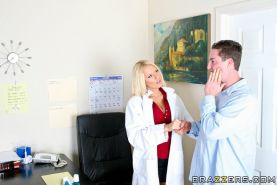 Sexy blonde babe in uniform Riley Evans has a cock banging her cunt