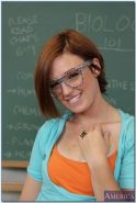 Foxy coed in glasses Jodi Taylor stripping off her clothes in the class