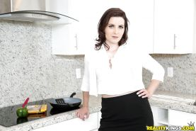 Brunette mom Helena Price revealing hairy stocking encased cunt in kitchen