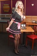 Hot waitress in stockings Simone Sonay taking off her uniform and lingerie