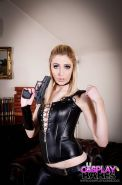 Euro cosplay babe Jessica Jensen toying and masturbating in leather outfit