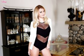 Blonde babe model Natalia Starr posing in see thru lingerie and high heels