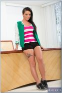 Lovely tattooed teen babe Christy Mack stripping and spreading her legs