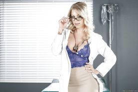 Nerdy MILF Katie Morgan slipping out of skirt and lingerie in hospital room