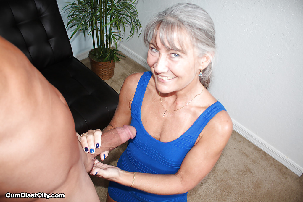 Mature sex addict jerking fat cock on knees for cumshot on tiny tits #51093131